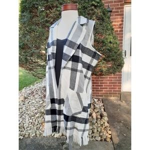 Super Soft Fleece Plaid Fringe Fall Vest Plus 1X